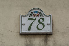 Ceramic tile house number seventy eight Stock Photography