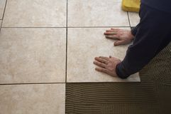 Ceramic Tile Installation Royalty Free Stock Photos