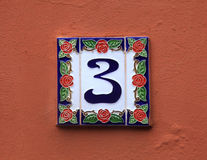 Ceramic tile with number 3 stock images