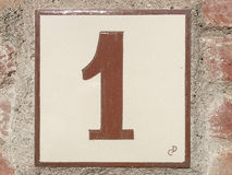 Ceramic tile with number one 1 Royalty Free Stock Images