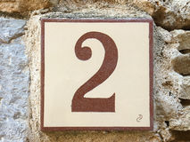 Ceramic tile with number two 2 Stock Photos