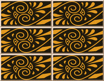 Ceramic tile pattern 380 aboriginal brown spiral cross vine flower Stock Photos