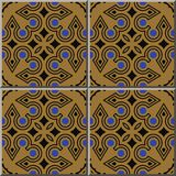 Ceramic tile pattern aboriginal round check cross frame line. Oriental interior floor wall ornament elegant stylish design stock illustration