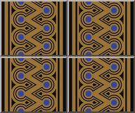 Ceramic tile pattern aboriginal triangle round cross frame line. Oriental interior floor wall ornament elegant stylish design stock illustration