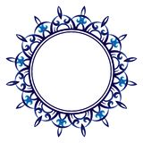 Ceramic tile pattern. Decorative round ornament. White background with art frame. Islamic, indian, arabic motifs. Decorative round ornament. Ceramic tile royalty free illustration