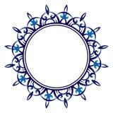 Ceramic tile pattern. Decorative round ornament. White background with art frame. Islamic, indian, arabic motifs. royalty free illustration