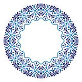 Ceramic tile pattern. Decorative round ornament. White background with art frame. Islamic, indian, arabic motifs vector illustration
