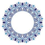 Ceramic tile pattern. Decorative round ornament. White background with art frame. Islamic, indian, arabic motifs royalty free illustration