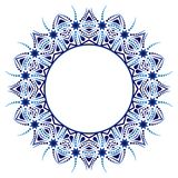 Ceramic tile pattern. Decorative round ornament. White background with art frame. Islamic, indian, arabic motifs. Decorative round ornament. Ceramic tile pattern royalty free illustration