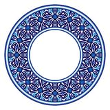 Ceramic tile pattern. Decorative round ornament. White background with art frame. Islamic, indian, arabic motifs. Decorative round ornament. Ceramic tile pattern stock illustration