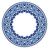 Ceramic tile pattern. Decorative round ornament. White background with art frame. Islamic, indian, arabic motifs. Decorative round ornament. Ceramic tile pattern vector illustration
