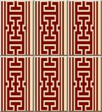 Ceramic tile pattern geometry polygon square cross tracery frame. Line, oriental interior floor wall ornament elegant stylish design Stock Image
