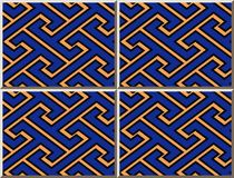 Ceramic tile pattern geometry spiral polygon cross tracery frame. Oriental interior floor wall ornament elegant stylish design Stock Photos