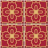 Ceramic tile pattern Golden Spiral Curve Cross Frame Tracery. Oriental interior floor wall ornament elegant stylish design Royalty Free Stock Images