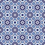 Ceramic tile pattern. Islamic, indian, arabic motifs. Damask sea. Mless pattern. Porcelain ethnic bohemian background. Abstract flower. Print for fabric and royalty free illustration