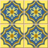 Ceramic tile pattern 339 oriental golden blue curve cross flower Stock Photo