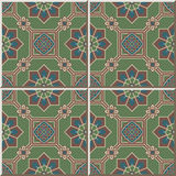 Ceramic tile pattern 414 oriental octagon square frame cross flower. Vintage tile patterns can be used for wallpaper, pattern fills, web page background, surface Royalty Free Stock Image