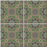 Ceramic tile pattern 414 oriental octagon square frame cross flower Royalty Free Stock Image
