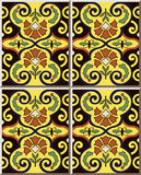 Ceramic tile pattern 412 oriental spiral nature butterfly flower Royalty Free Stock Photos