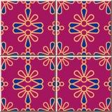Ceramic tile pattern Round Curve Cross Colorful Petals Flower. Oriental interior floor wall ornament elegant stylish design stock illustration