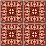Ceramic tile pattern square geometry cross tracery frame line. Oriental interior floor wall ornament elegant stylish design Stock Photography