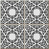 Ceramic tile pattern triangle aboriginal square check cross fram. E rope chain, oriental interior floor wall ornament elegant stylish design stock illustration