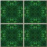 Ceramic tile pattern vintage green spiral cross kaleidoscope vin Royalty Free Stock Photo