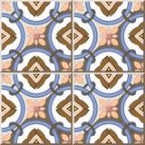 Ceramic tile pattern 365 vintage round circle cross chain flower Royalty Free Stock Photo