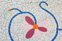 Ceramic tile patterns and colors. Pink flowers Stock Photos