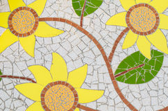 Ceramic tile patterns and colors. Three yellow flowers Royalty Free Stock Photography