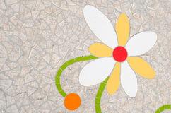Ceramic tile patterns and colors. White and yellow flower Royalty Free Stock Images