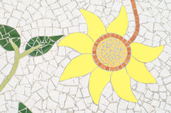 Ceramic tile patterns and colors. Yellow flower Stock Photo