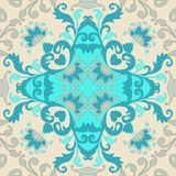 Ceramic tile. Portuguese, moroccan, spanish, indian motives. Abstract paisley and flowers ornament. Pattern for pillowcase. Or blanket, carpet, doily. Vector stock illustration
