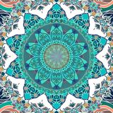 Ceramic tile or square card with emerald flower mandala in indian style. Seamless ethnic pattern. Print for fabric.  stock illustration