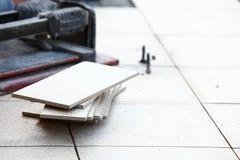 Ceramic tile and trowel for repairs Royalty Free Stock Image