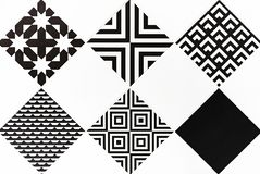 Ceramic tiles with black and white ornaments. Background and texture of ceramic tiles.  royalty free stock image