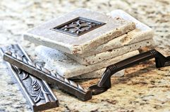 Ceramic tiles and borders. For backsplash close up on a granite surface stock photography