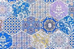 Ceramic tiles with colored ornament. Background and texture of ceramic tiles royalty free stock photography