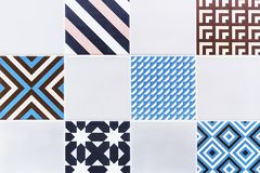 Ceramic tiles with colored ornaments. Background and texture of ceramic tiles.  royalty free stock image