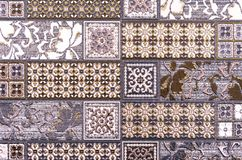 Ceramic tiles with colored ornaments. Background and texture of ceramic tiles.  stock image