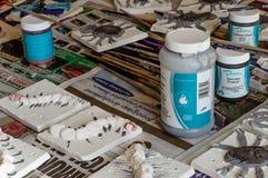 Ceramic tiles during the glazing process. WREXHAM, UNITED KINGDOM - MARCH 14, 2016: Ceramic 'mini beasts' tiles during the glazing process. Part of a workshop Stock Photo