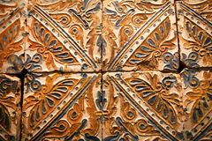 Ceramic tiles panel with traditional patterns, made in 15th -16th century, Spain. Ceramic tiles panel with colorful traditional patterns, made in 15th -16th stock image