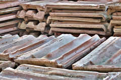 Ceramic tiles piles in warehouse. Stock Photos