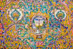 Ceramic tiles with traditional Persian patterns on the beautiful walls of the old royal palace Stock Image