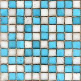 Ceramic Tiles. View of Old Worn Blue and White Square Ceramic Tiles with Plenty of Copy Space Royalty Free Stock Photos