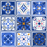 Ceramic tiles vintage patterns. Vector spanish style architecture blue tale set Stock Photo