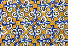 Ceramic tiles in yellow and blue Royalty Free Stock Images