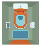 Ceramic toilet interior with glass shelf for phone in flat style. Top view. Vector illustration stock illustration
