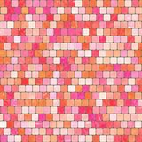 Ceramic trendy pink and orange mosaic background. Seamless texture in swimming pool, bathroom or kitchen.  stock illustration