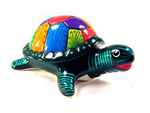 Ceramic Turtle. Colorful ceramic turtle on a white background Royalty Free Stock Photos